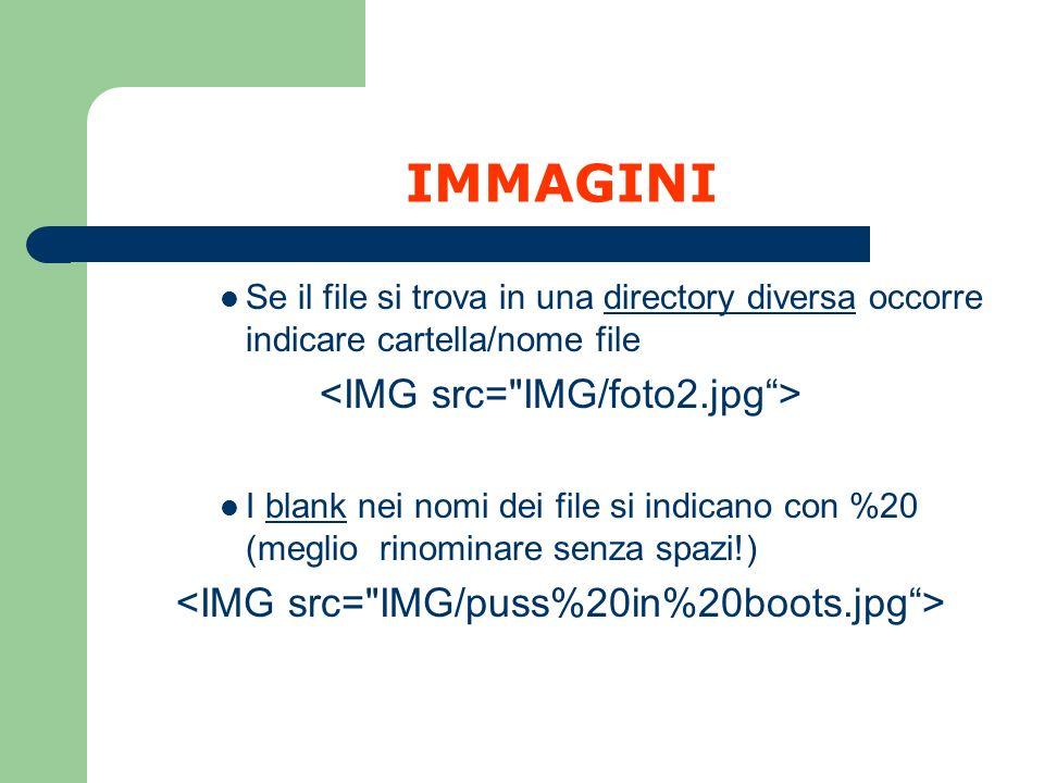 IMMAGINI Se il file si trova in una directory diversa occorre indicare cartella/nome file I blank nei nomi dei file si indicano con %20 (meglio rinomi