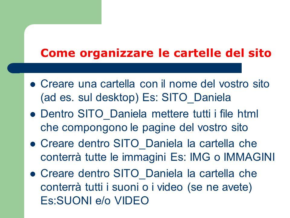 Come organizzare le cartelle del sito Creare una cartella con il nome del vostro sito (ad es. sul desktop) Es: SITO_Daniela Dentro SITO_Daniela metter
