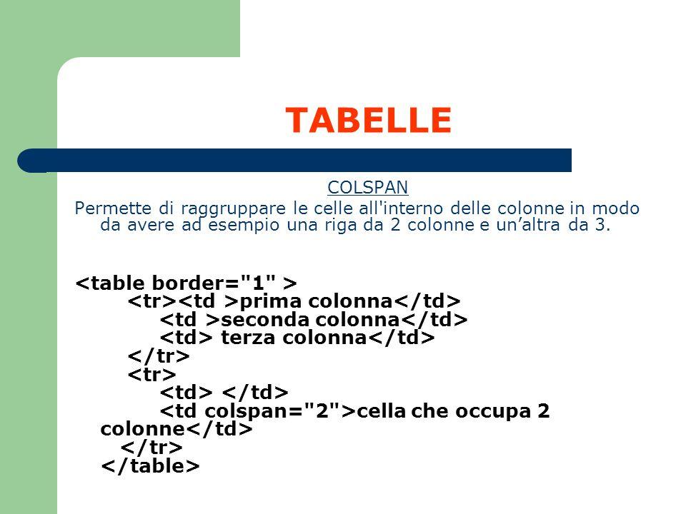 TABELLE COLSPAN Permette di raggruppare le celle all'interno delle colonne in modo da avere ad esempio una riga da 2 colonne e unaltra da 3. prima col