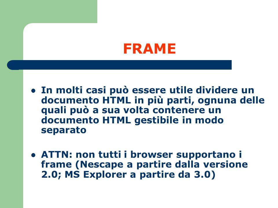 FRAME In molti casi può essere utile dividere un documento HTML in più parti, ognuna delle quali può a sua volta contenere un documento HTML gestibile