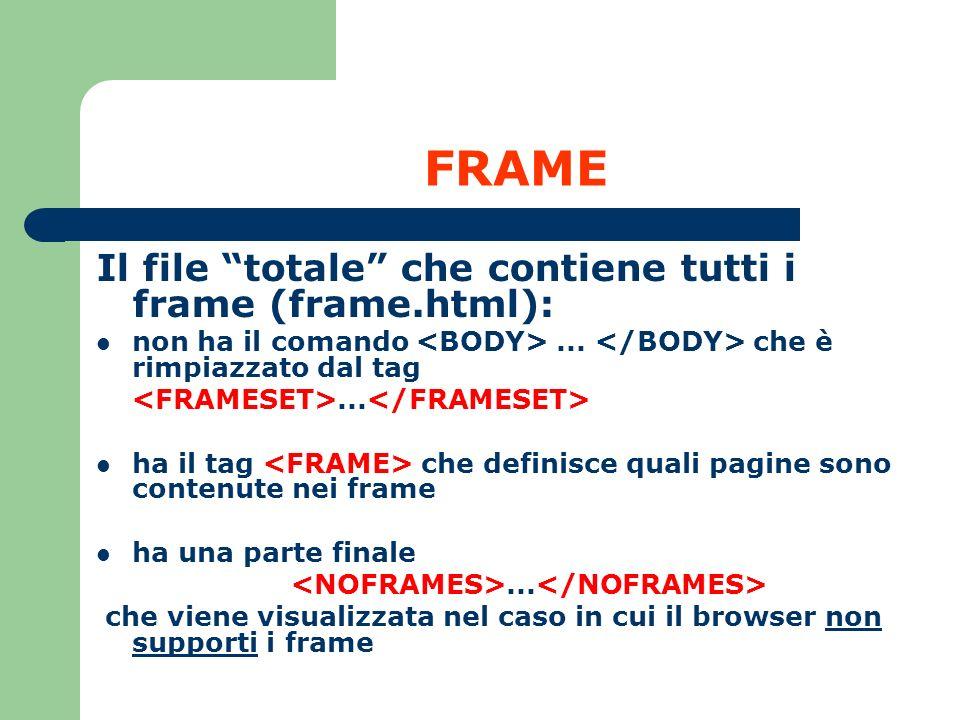 FRAME Il file totale che contiene tutti i frame (frame.html): non ha il comando... che è rimpiazzato dal tag... ha il tag che definisce quali pagine s