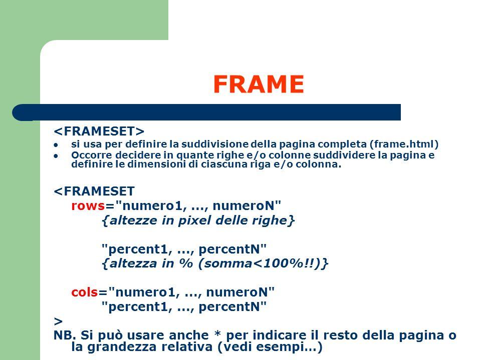 FRAME si usa per definire la suddivisione della pagina completa (frame.html) Occorre decidere in quante righe e/o colonne suddividere la pagina e defi
