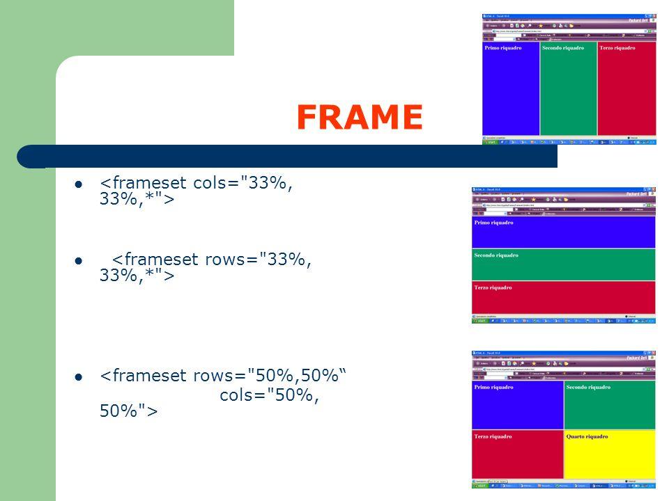 FRAME <frameset rows=