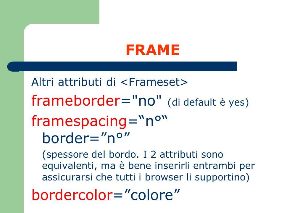 FRAME Altri attributi di frameborder=