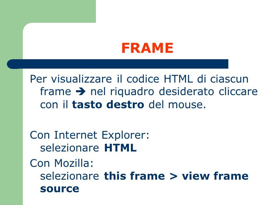 FRAME Per visualizzare il codice HTML di ciascun frame nel riquadro desiderato cliccare con il tasto destro del mouse. Con Internet Explorer: selezion