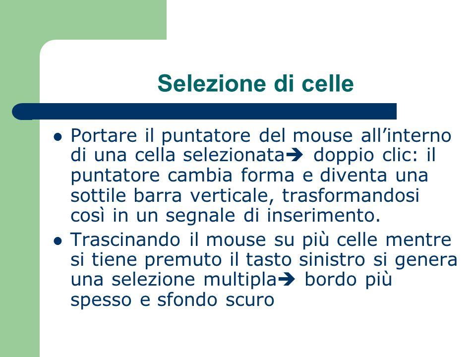 Selezione di celle Portare il puntatore del mouse allinterno di una cella selezionata doppio clic: il puntatore cambia forma e diventa una sottile barra verticale, trasformandosi così in un segnale di inserimento.