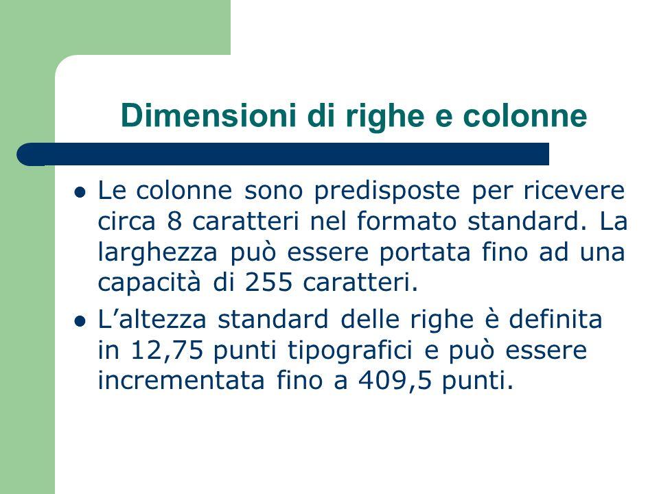 Dimensioni di righe e colonne Le colonne sono predisposte per ricevere circa 8 caratteri nel formato standard.