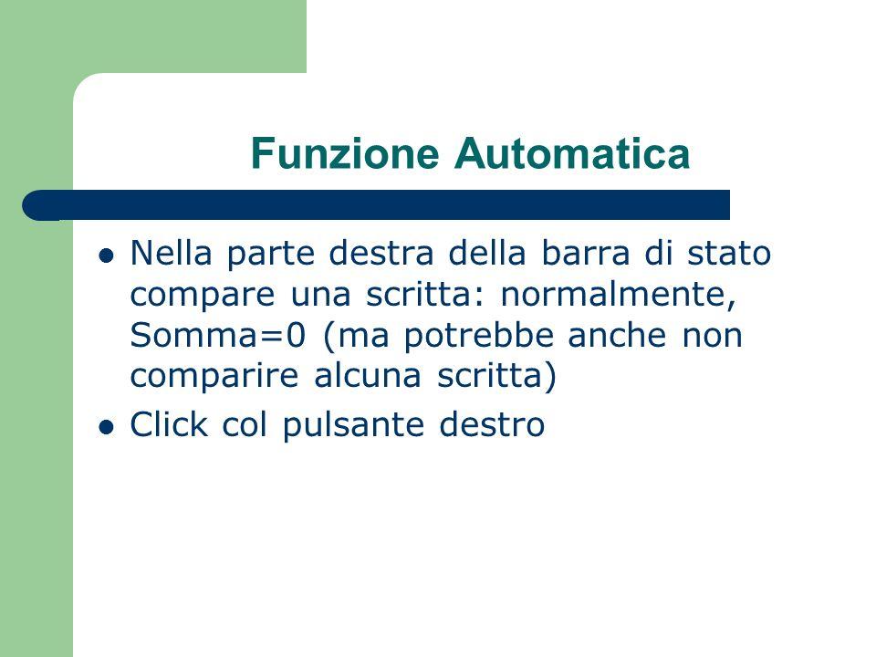 Funzione Automatica Nella parte destra della barra di stato compare una scritta: normalmente, Somma=0 (ma potrebbe anche non comparire alcuna scritta) Click col pulsante destro