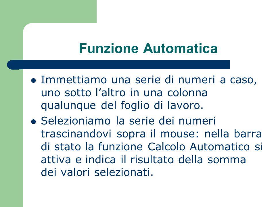 Funzione Automatica Immettiamo una serie di numeri a caso, uno sotto laltro in una colonna qualunque del foglio di lavoro.