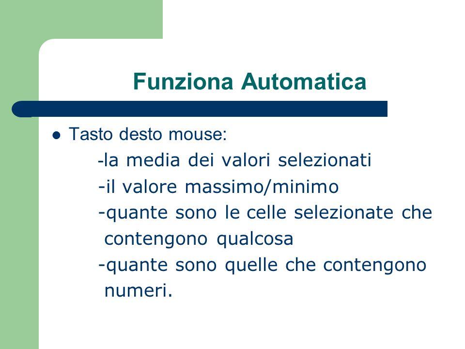 Funziona Automatica Tasto desto mouse: - la media dei valori selezionati -il valore massimo/minimo -quante sono le celle selezionate che contengono qualcosa -quante sono quelle che contengono numeri.