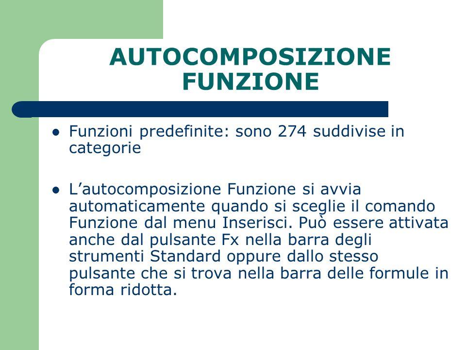AUTOCOMPOSIZIONE FUNZIONE Funzioni predefinite: sono 274 suddivise in categorie Lautocomposizione Funzione si avvia automaticamente quando si sceglie il comando Funzione dal menu Inserisci.