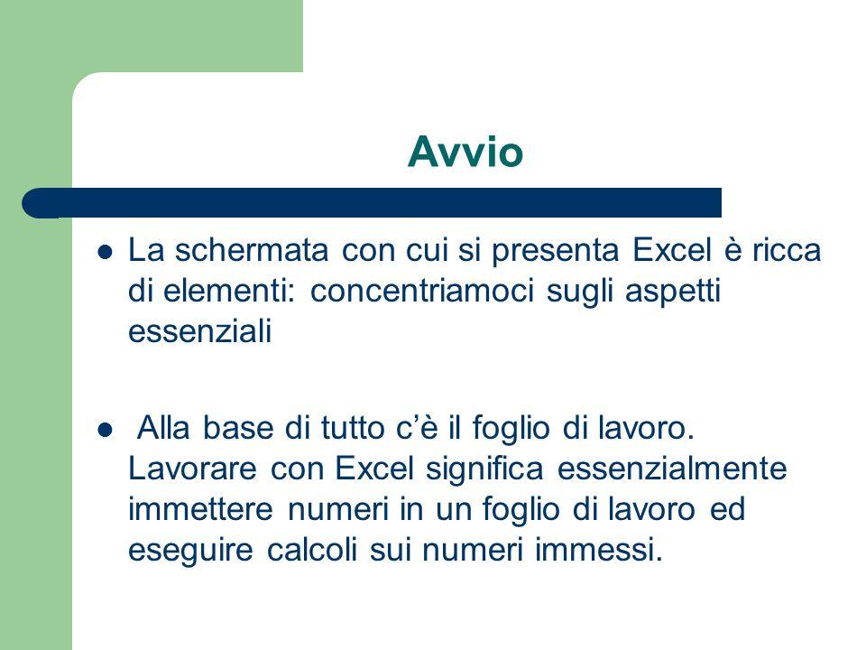 Avvio La schermata con cui si presenta Excel è ricca di elementi: concentriamoci sugli aspetti essenziali Alla base di tutto cè il foglio di lavoro.