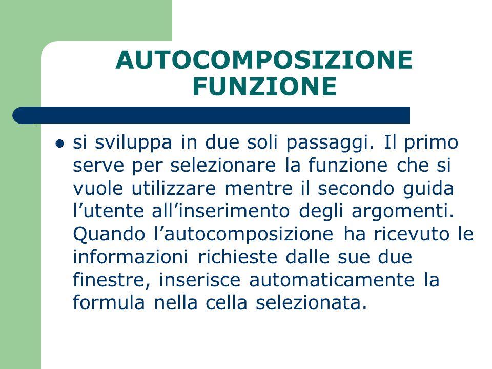 AUTOCOMPOSIZIONE FUNZIONE si sviluppa in due soli passaggi.