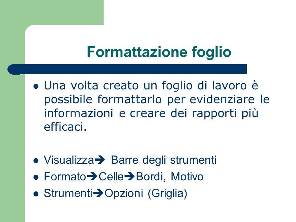 Formattazione foglio Una volta creato un foglio di lavoro è possibile formattarlo per evidenziare le informazioni e creare dei rapporti più efficaci.