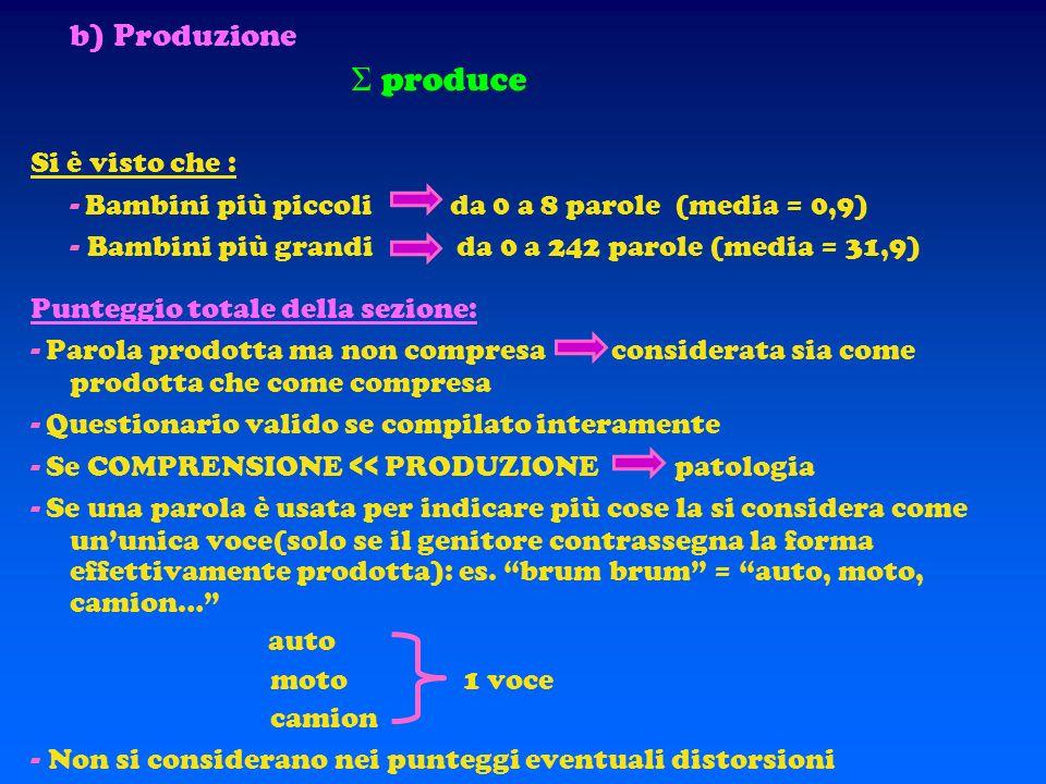 SEZIONE D – Lista di parole le parole delle lista sono suddivise in: 1. nomi 2. verbi / aggettivi 3. funtori (pronomi, interrogativi, preposizioni art