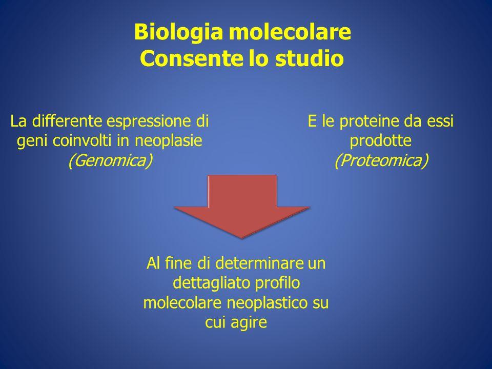 Biologia molecolare Consente lo studio La differente espressione di geni coinvolti in neoplasie (Genomica) E le proteine da essi prodotte (Proteomica)