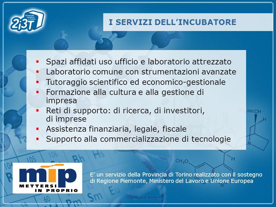 Spazi affidati uso ufficio e laboratorio attrezzato Laboratorio comune con strumentazioni avanzate Tutoraggio scientifico ed economico-gestionale Form