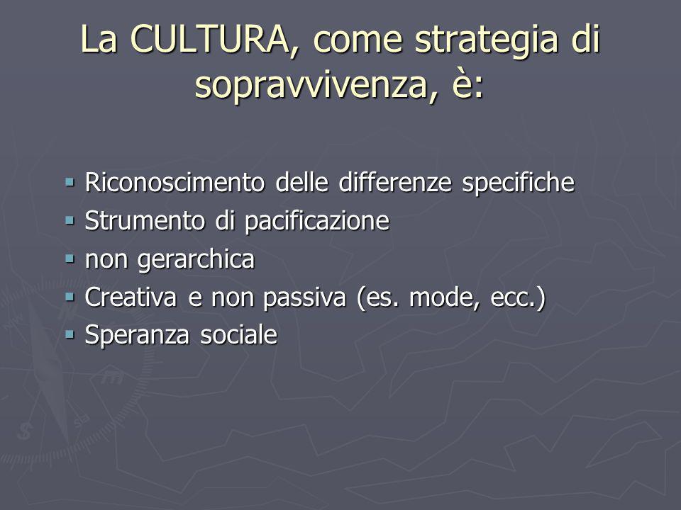 La CULTURA, come strategia di sopravvivenza, è: Riconoscimento delle differenze specifiche Riconoscimento delle differenze specifiche Strumento di pac