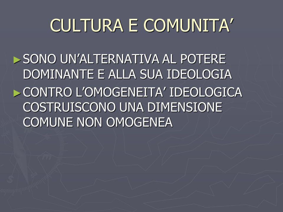 CULTURA E COMUNITA SONO UNALTERNATIVA AL POTERE DOMINANTE E ALLA SUA IDEOLOGIA SONO UNALTERNATIVA AL POTERE DOMINANTE E ALLA SUA IDEOLOGIA CONTRO LOMO