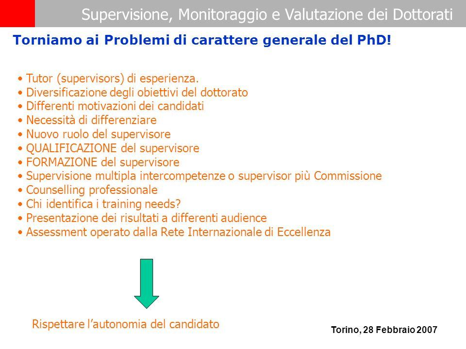 Supervisione, Monitoraggio e Valutazione dei Dottorati Torino, 28 Febbraio 2007 Tutor (supervisors) di esperienza. Diversificazione degli obiettivi de