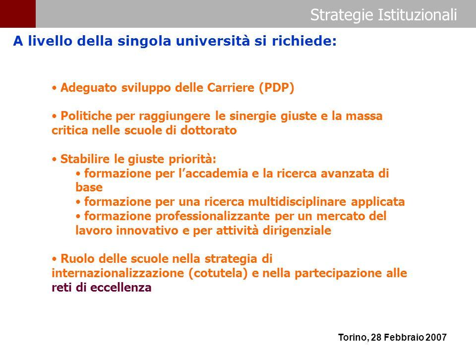Strategie Istituzionali Torino, 28 Febbraio 2007 A livello della singola università si richiede: Adeguato sviluppo delle Carriere (PDP) Politiche per