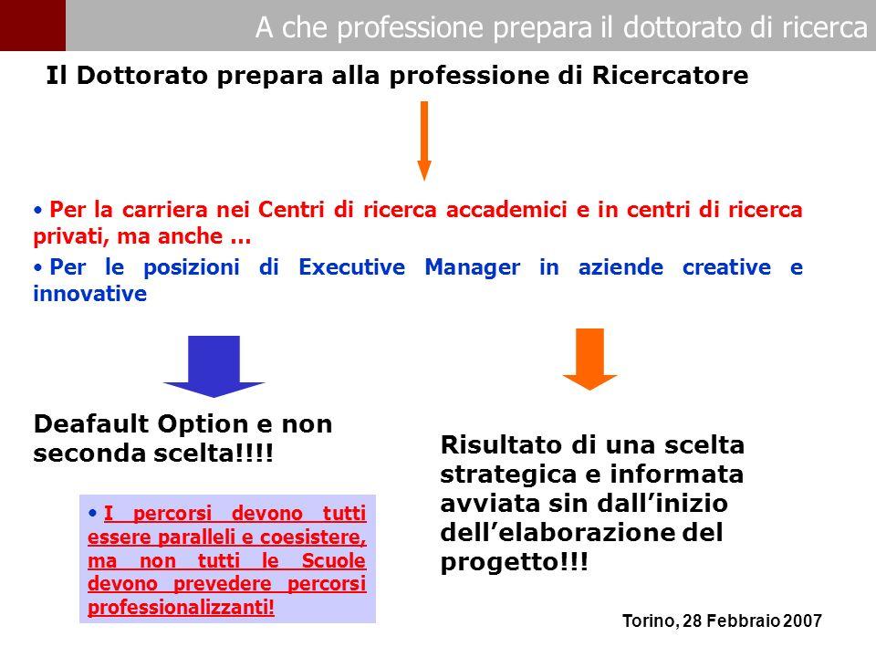 A che professione prepara il dottorato di ricerca Torino, 28 Febbraio 2007 Per la carriera nei Centri di ricerca accademici e in centri di ricerca pri