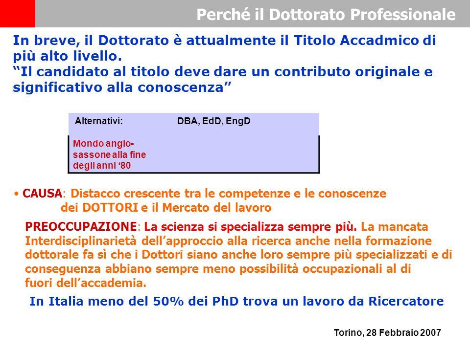 Perché il Dottorato Professionale Torino, 28 Febbraio 2007 CAUSA: Distacco crescente tra le competenze e le conoscenze dei DOTTORI e il Mercato del lavoro Alternativi: DBA, EdD, EngD Mondo anglo- sassone alla fine degli anni 80 In breve, il Dottorato è attualmente il Titolo Accadmico di più alto livello.
