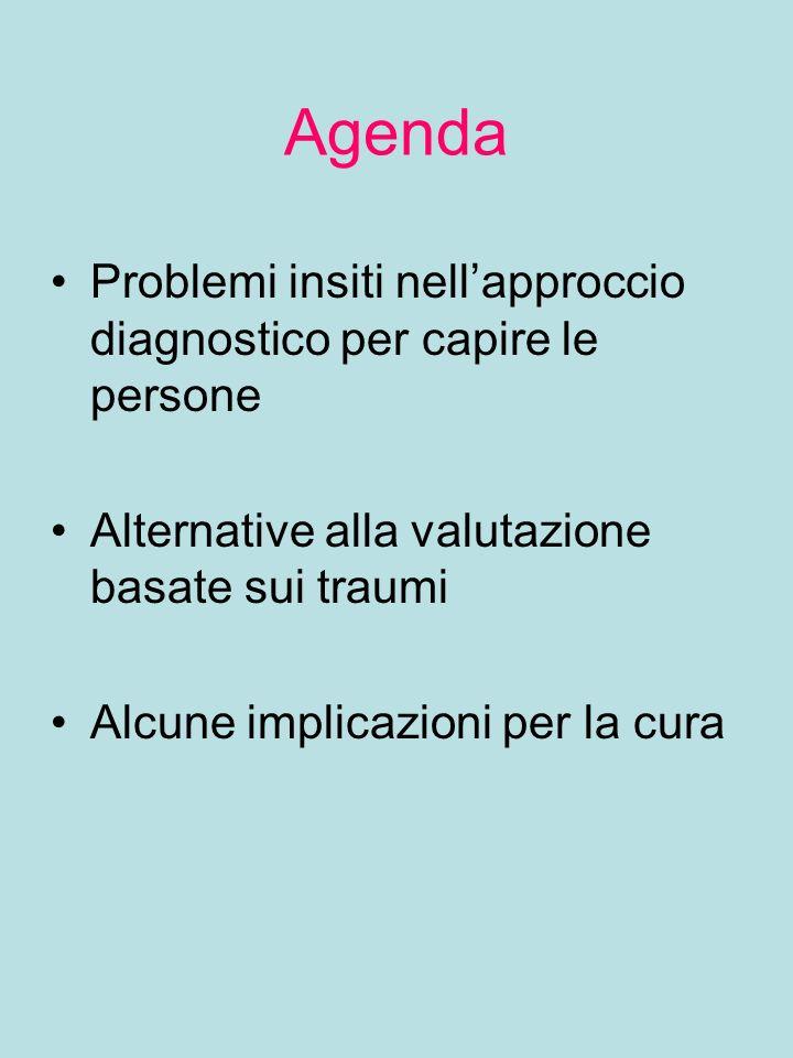 Agenda Problemi insiti nellapproccio diagnostico per capire le persone Alternative alla valutazione basate sui traumi Alcune implicazioni per la cura