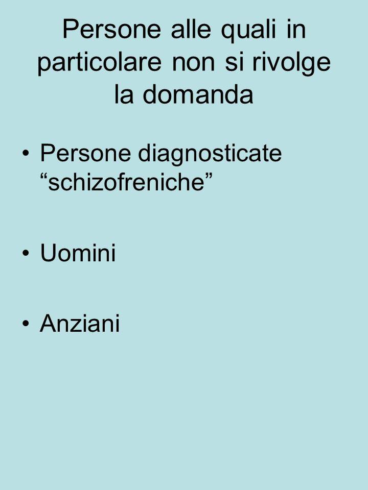 Persone alle quali in particolare non si rivolge la domanda Persone diagnosticate schizofreniche Uomini Anziani