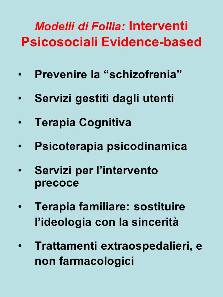 Modelli di Follia: Interventi Psicosociali Evidence-based Prevenire la schizofrenia Servizi gestiti dagli utenti Terapia Cognitiva Psicoterapia psicodinamica Servizi per lintervento precoce Terapia familiare: sostituire lideologia con la sincerità Trattamenti extraospedalieri, e non farmacologici