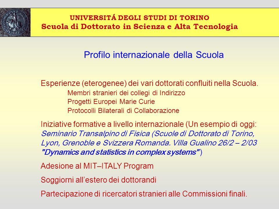 UNIVERSITÁ DEGLI STUDI DI TORINO Scuola di Dottorato in Scienza e Alta Tecnologia Profilo internazionale della Scuola Esperienze (eterogenee) dei vari dottorati confluiti nella Scuola.