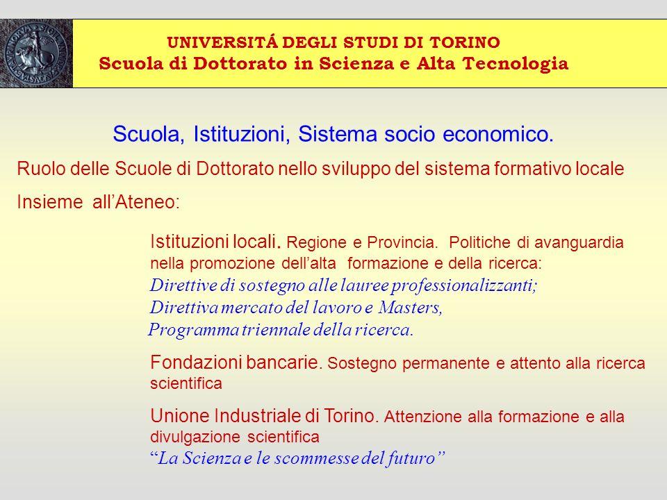 UNIVERSITÁ DEGLI STUDI DI TORINO Scuola di Dottorato in Scienza e Alta Tecnologia Scuola, Istituzioni, Sistema socio economico.