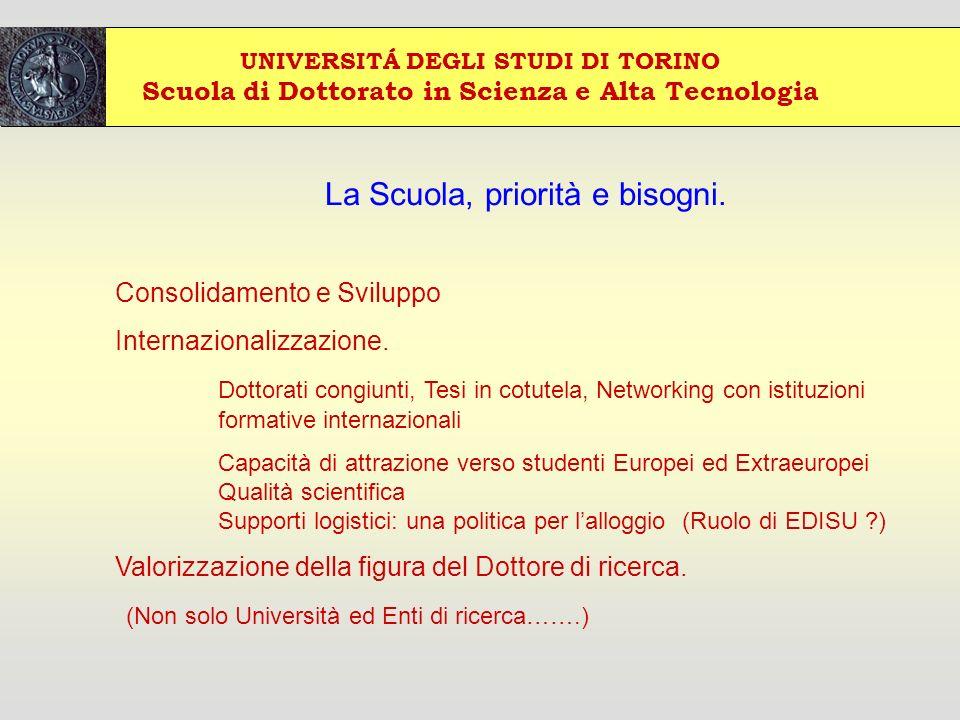 UNIVERSITÁ DEGLI STUDI DI TORINO Scuola di Dottorato in Scienza e Alta Tecnologia La Scuola, priorità e bisogni.