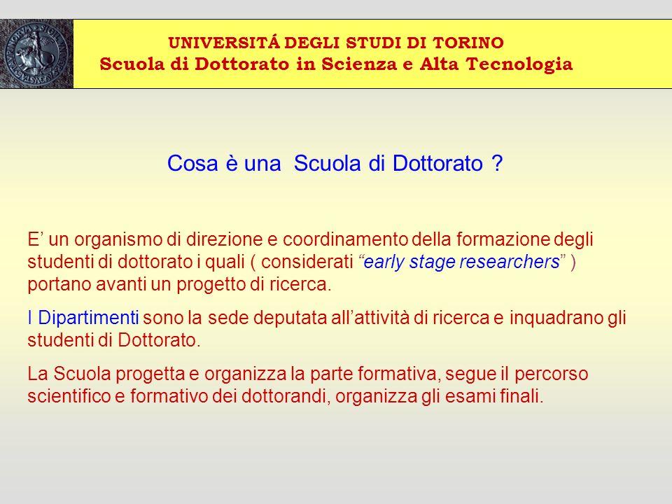 UNIVERSITÁ DEGLI STUDI DI TORINO Scuola di Dottorato in Scienza e Alta Tecnologia Cosa è una Scuola di Dottorato .