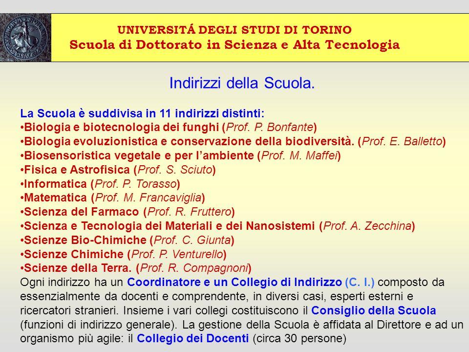 UNIVERSITÁ DEGLI STUDI DI TORINO Scuola di Dottorato in Scienza e Alta Tecnologia Indirizzi della Scuola.