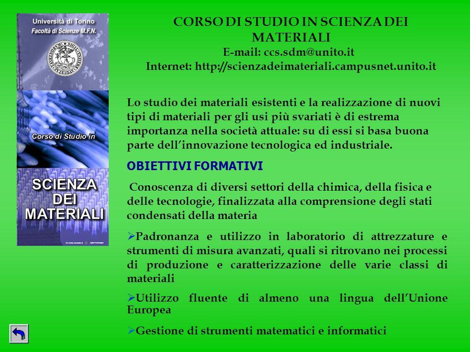 CORSO DI STUDIO IN SCIENZA DEI MATERIALI E-mail: ccs.sdm@unito.it Internet: http://scienzadeimateriali.campusnet.unito.it Lo studio dei materiali esis