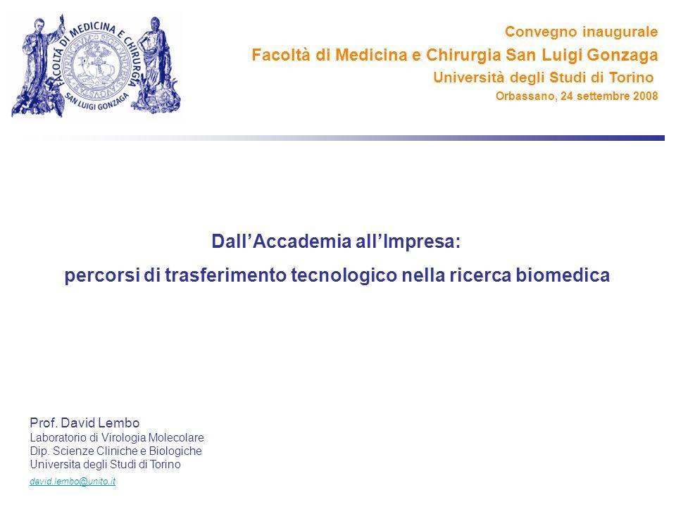 DallAccademia allImpresa: percorsi di trasferimento tecnologico nella ricerca biomedica Prof. David Lembo Laboratorio di Virologia Molecolare Dip. Sci