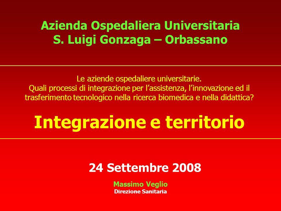Azienda Ospedaliera Universitaria S. Luigi Gonzaga – Orbassano Massimo Veglio Direzione Sanitaria 24 Settembre 2008 Le aziende ospedaliere universitar