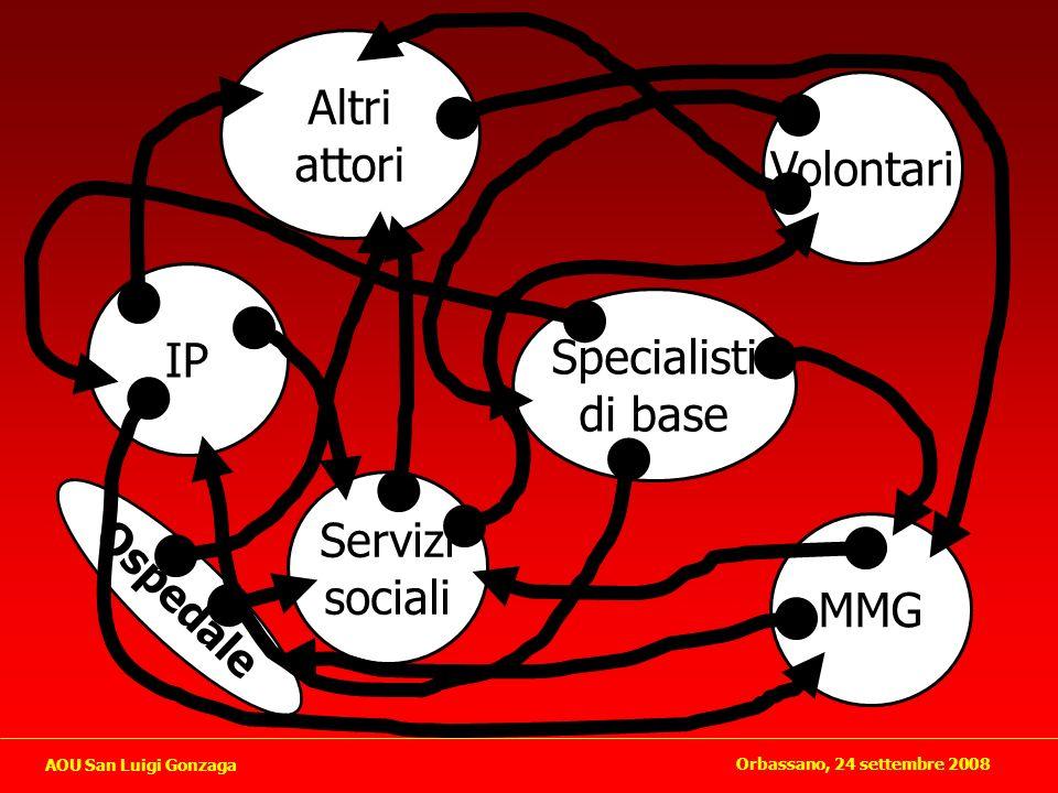 Altri Attori (volontari, vicini di casa, cooperative sociali..) Assistenza di base Specialistica territoriale Assistenza ospedaliera Assistenza sociale Orbassano, 24 settembre 2008 AOU San Luigi Gonzaga
