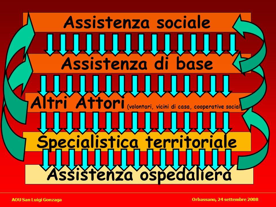 Altri Attori (volontari, vicini di casa, cooperative sociali..) Assistenza di base Specialistica territoriale Assistenza ospedaliera Assistenza social