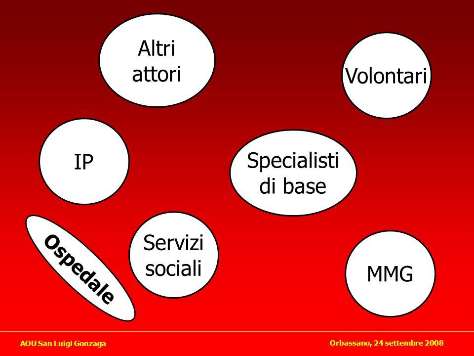 Altri attori Specialisti di base IP Servizi sociali MMG Volontari Ospedale Orbassano, 24 settembre 2008 AOU San Luigi Gonzaga