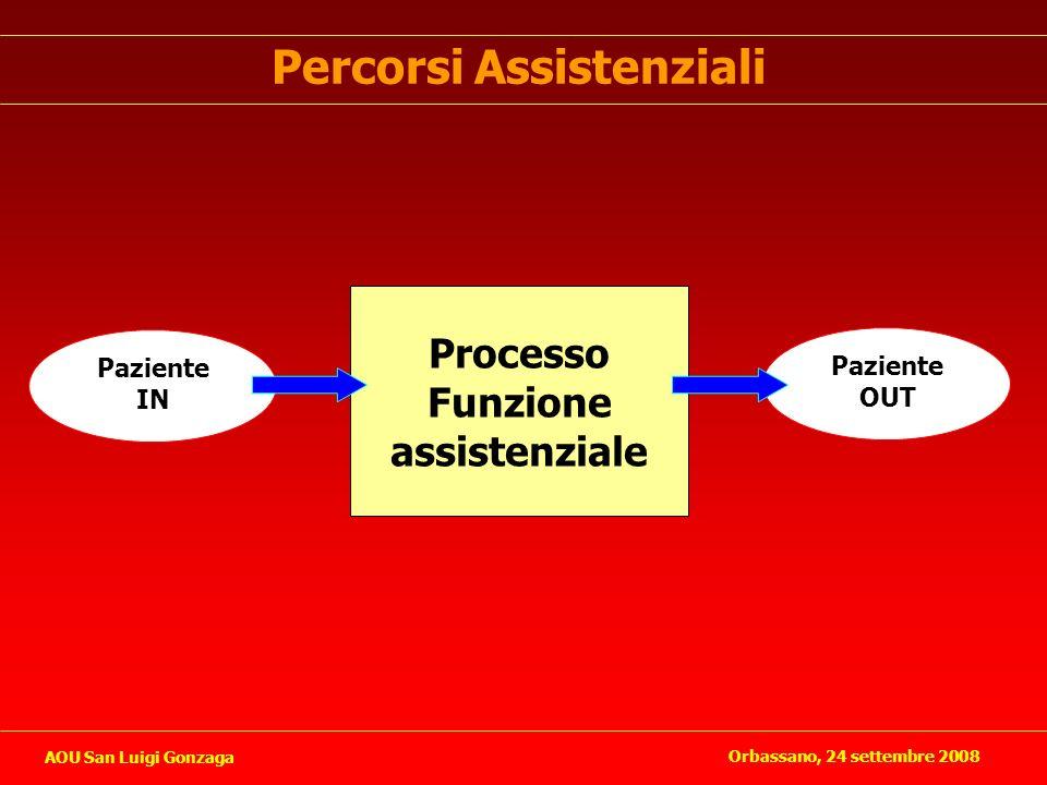 Percorsi Assistenziali Paziente IN Paziente OUT Processo Funzione assistenziale Orbassano, 24 settembre 2008 AOU San Luigi Gonzaga