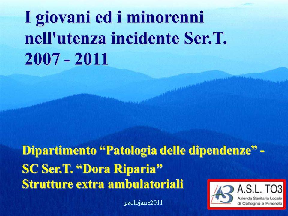 I giovani ed i minorenni nell'utenza incidente Ser.T. 2007 - 2011 Dipartimento Patologia delle dipendenze - SC Ser.T. Dora Riparia Strutture extra amb