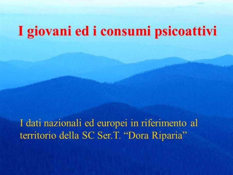 I giovani ed i consumi psicoattivi I dati nazionali ed europei in riferimento al territorio della SC Ser.T. Dora Riparia