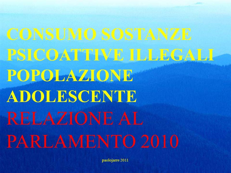 CONSUMO SOSTANZE PSICOATTIVE ILLEGALI POPOLAZIONE ADOLESCENTE RELAZIONE AL PARLAMENTO 2010 paolojarre 2011