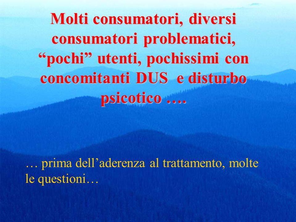 Molti consumatori, diversi consumatori problematici, pochi utenti, pochissimi con concomitanti DUS e disturbo psicotico …. … prima delladerenza al tra