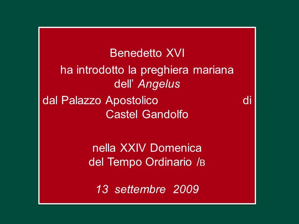 Benedetto XVI ha introdotto la preghiera mariana dell Angelus dal Palazzo Apostolico di Castel Gandolfo nella XXIV Domenica del Tempo Ordinario / B 13 settembre 2009 Benedetto XVI ha introdotto la preghiera mariana dell Angelus dal Palazzo Apostolico di Castel Gandolfo nella XXIV Domenica del Tempo Ordinario / B 13 settembre 2009