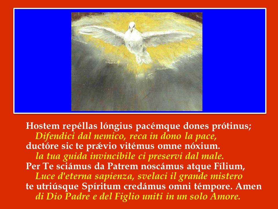 Hostem repéllas lóngius pacémque dones prótinus; Difendici dal nemico, reca in dono la pace, ductóre sic te prǽvio vitémus omne nóxium.