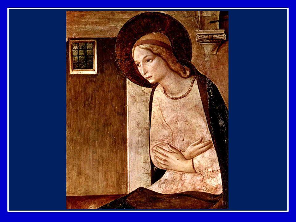Maria è in atteggiamento di ascolto, attenta a cogliere i segni di Dio nel cammino del suo popolo; è inserita in una storia di fede e di speranza nell