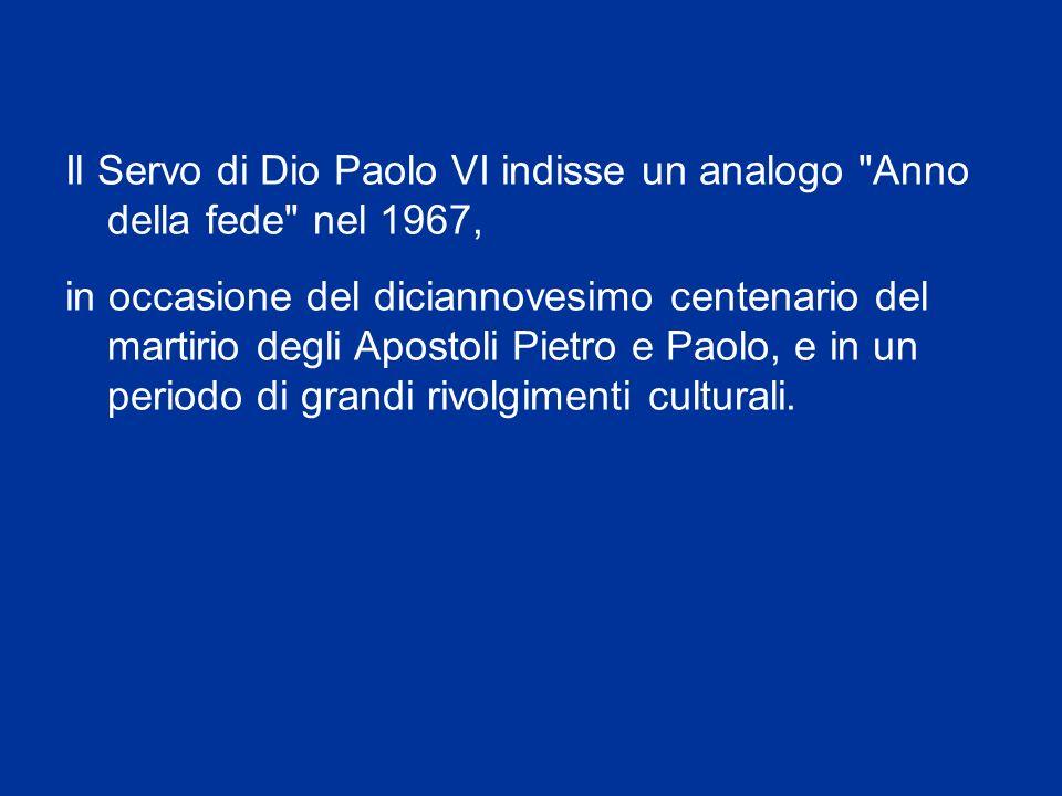 Che avrà inizio l11 ottobre 2012 – 50° anniversario dellapertura del Concilio Vaticano II – e si concluderà il 24 novembre 2013, Solennità di Cristo R